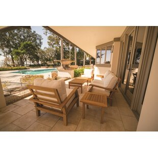 Dubay 6 Piece Teak Sunbrella Sofa Seating Group with Sunbrella Cushions