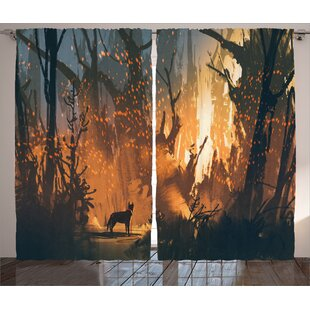 Hoffman Graphic Print and Text Semi-Sheer Rod Pocket Curtain Panel (Set of 2) by Loon Peak