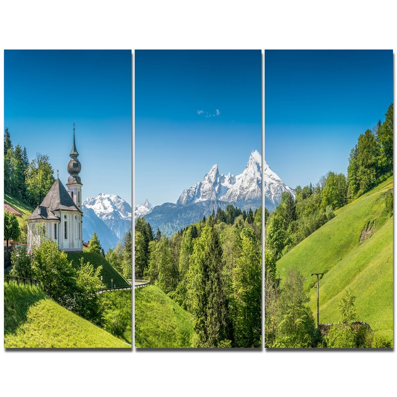 Designart Green Mountain View Of Bavarian Alps Photographic Print Multi Piece Image On Canvas Wayfair