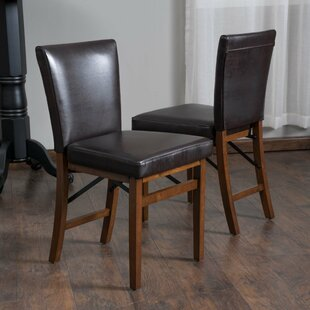 Oshea Genuine Leather Upholstered Dining Chair (Set of 2) Millwood Pines