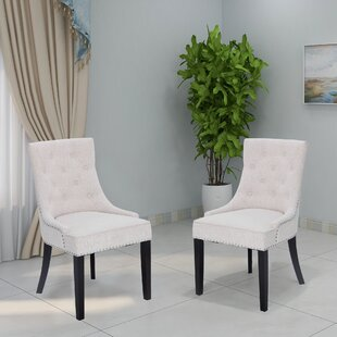 Charlack Tufted Linen Upholstered Parsons Chair Set of 2 by Alcott Hill