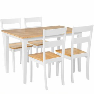 Seabrook 5 Piece Solid Wood Dining Set by August Grove Best