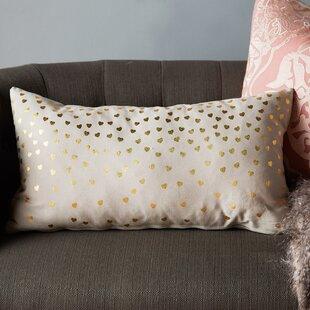 Clairsville Foil Hearts Lumbar Pillow