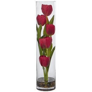 Silk Tulips Floral Arrangement in Glass