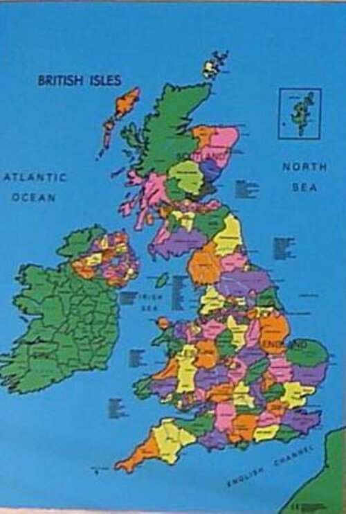 Sport and Playbase British Isles Map Cloth Political Graphic Art