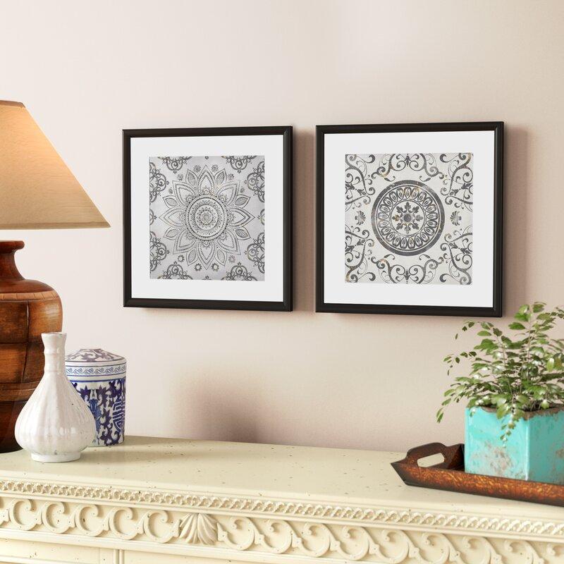 ff495ccb9cd Mistana  Mandala Sunburst  2 Piece Framed Graphic Art Print Set   Reviews
