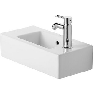 Look for Vero Ceramic Rectangular Wall Mount Bathroom Sink with Faucet and Overflow By Duravit