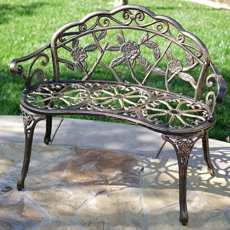 Genial Larue Rose Iron Garden Bench