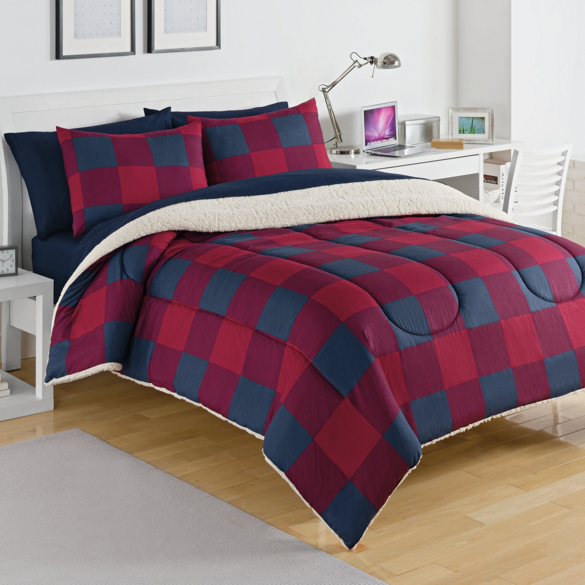 king comforter full plaid set buffalo bed plush check