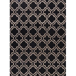 Pryor Traditional Moroccan Trellis Oriental Hand Tufted Wool Black White Area Rug