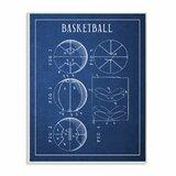 'Basketball Blue Vintage Sports Design' by Daphne Polselli Graphic Art Print