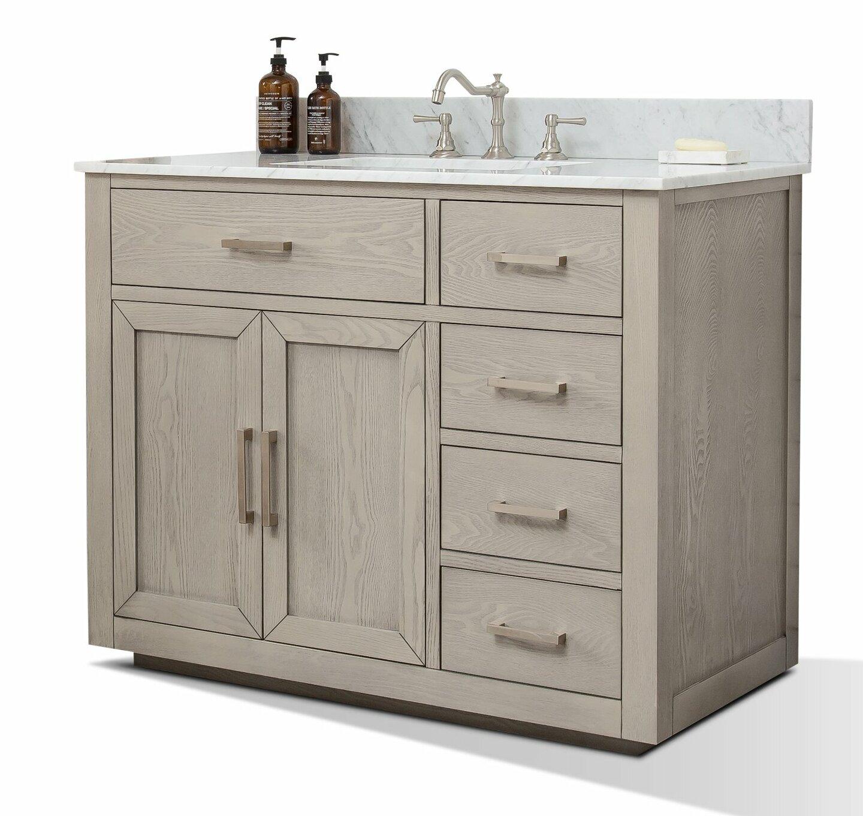 Darby Home Co Gertz 42 Inch 42 Bathroom Sink Vanity Set With White Italian Carrara Marble Top Antique Grey Reviews Wayfair Ca