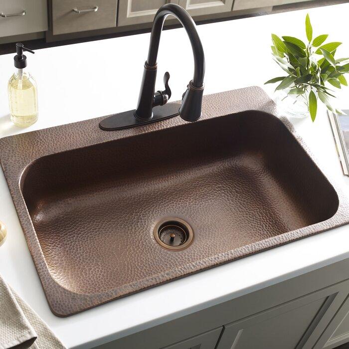 Angelico Handmade 33 L X 22 W Drop In Kitchen Sink