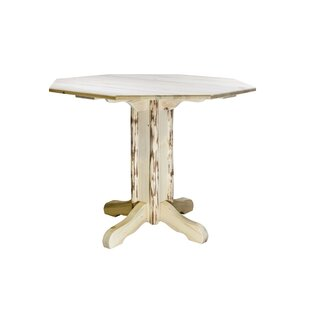 Abordale Pedestal Solid Wood Dining Table Loon Peak