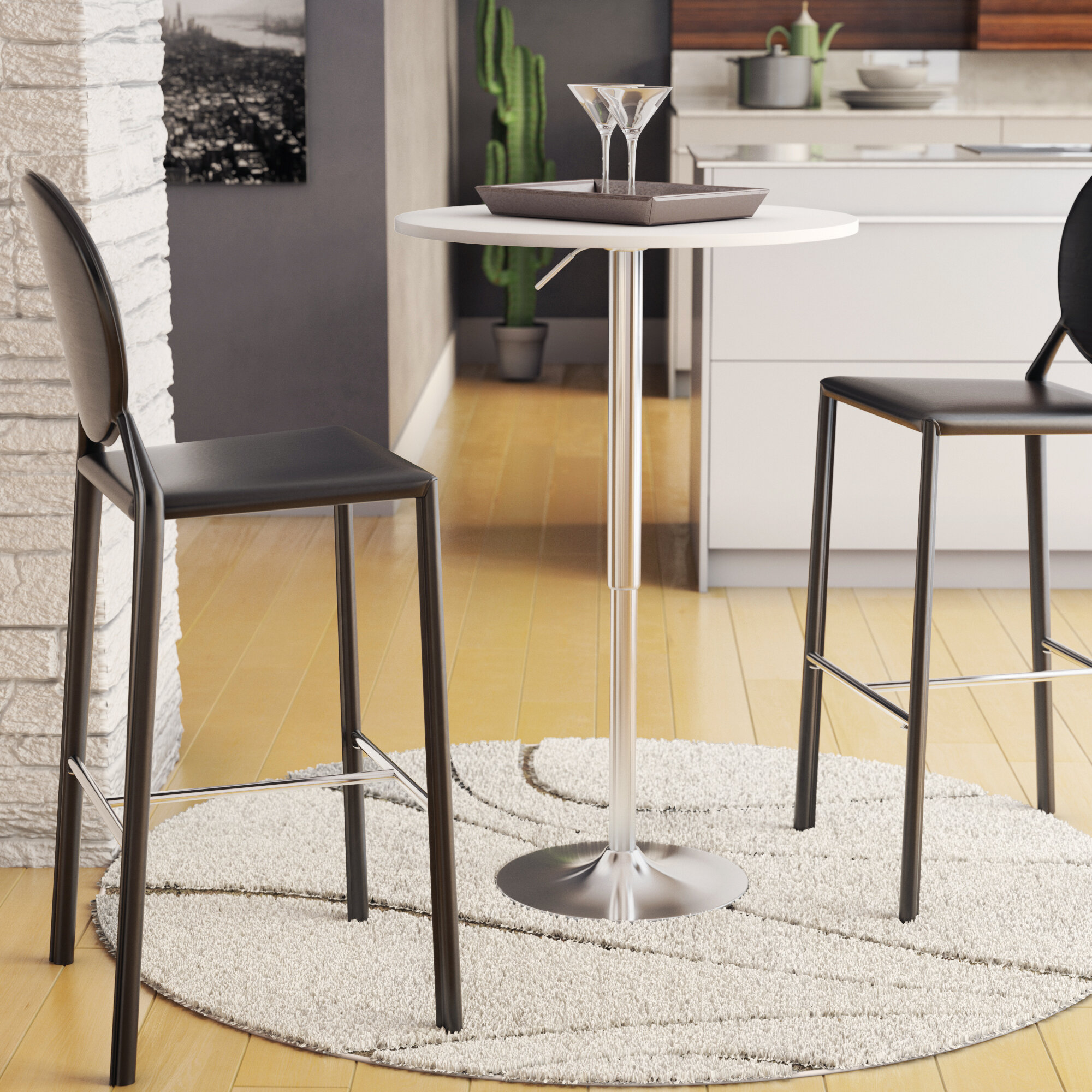 Picture of: Premium Quality Easy Assemble Adjustable Height 360 Degree Swivel Square Bar Table 2 Person Black Silver Made From Mdf And Stainless Steel Widely Use For Pub Cafe Restaurant Bar Cocktail Table