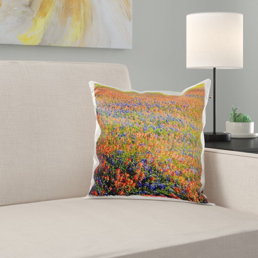 East Urban Home Gaetan Bonnets Indian Paintbrush Texas Hill Country Pillow Cover Wayfair