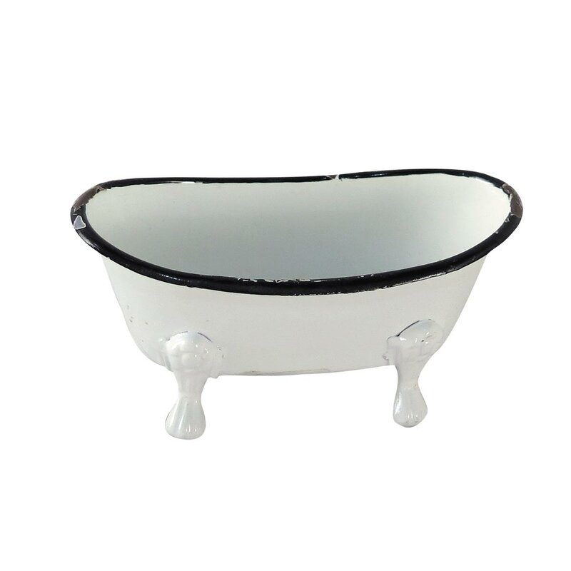 Foreside Home & Garden Mini Enamel Bathtub Soap Dish | Wayfair