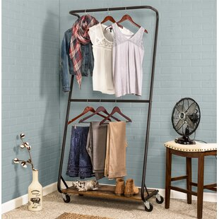 33.5 W Rustic Z-Frame Double Bar Garment Rack by Honey Can Do