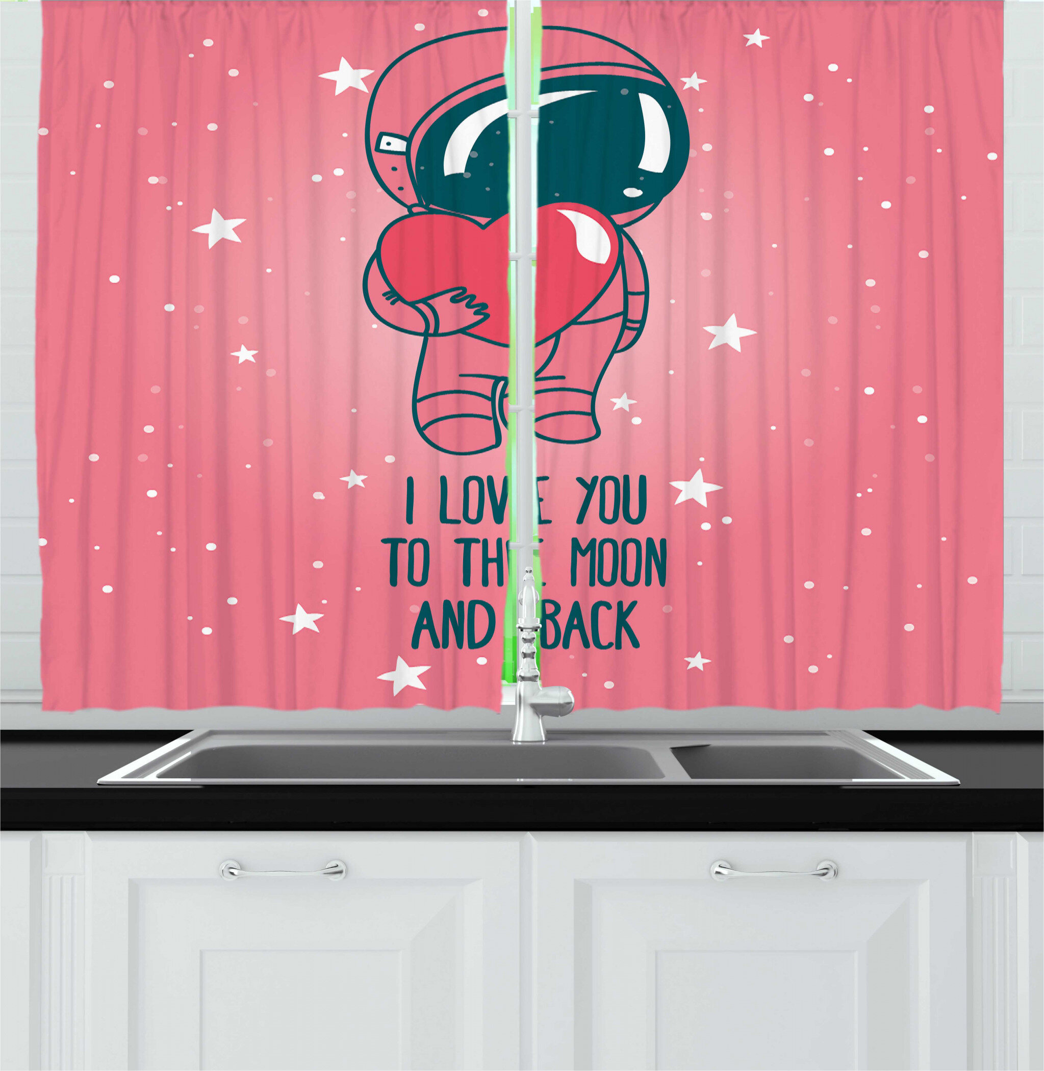 East Urban Home 2 Piece Valentines I Love You To The Moon And Back Lettering With An Astronaut Holding Heart Kitchen Curtain Set Wayfair