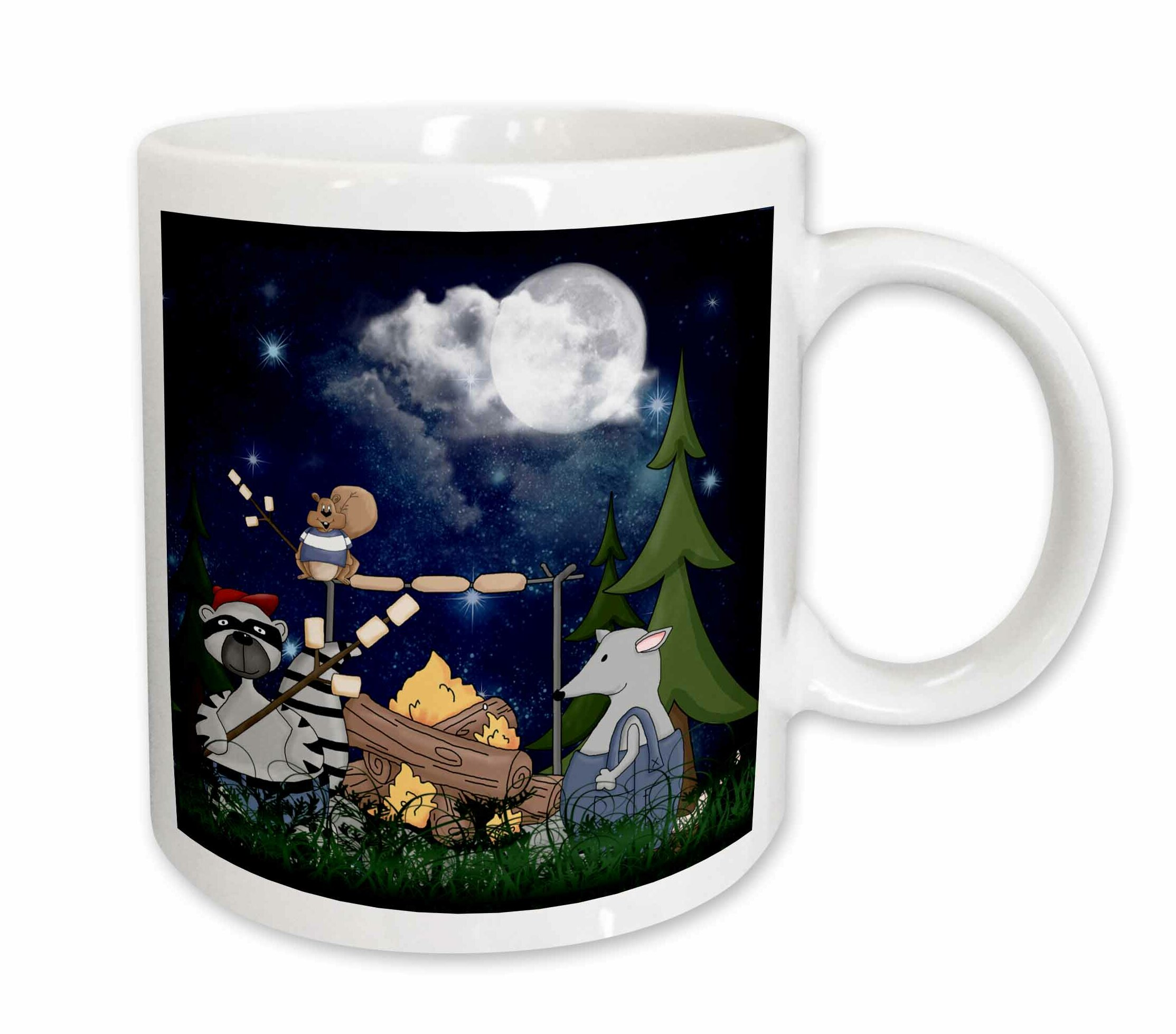 3drose Raccoon Squirrel And Opossum Camping With A Campfire And Marshmallows Coffee Mug Wayfair
