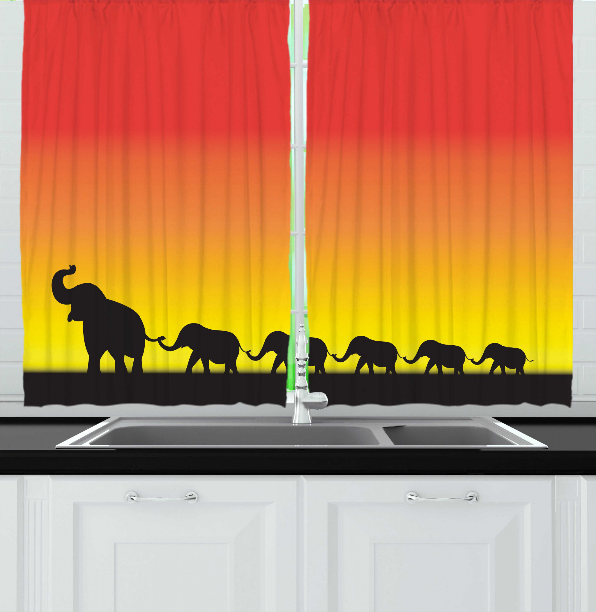 East Urban Home 2 Piece Elephant Mammal Family Walk At Sunset Ombre Sky Kitchen Curtain Set Wayfair