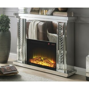 Omer Mirrored Electric Fireplace by Everly Quinn