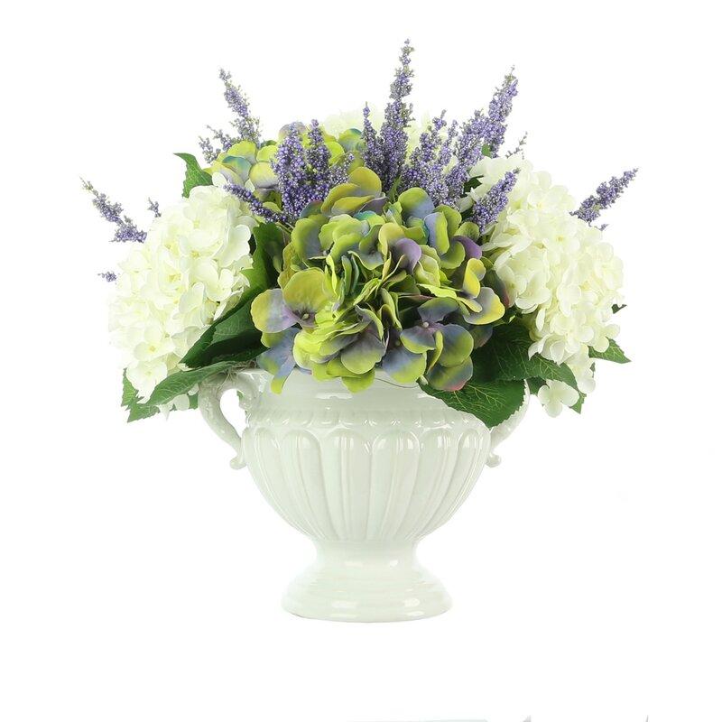 Canora Grey Hydrangea Mixed Floral Arrangement In Vase Wayfair