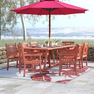 Beachcrest Home Monterry 9 Piece Eucalyptus Hardwood Dining Set