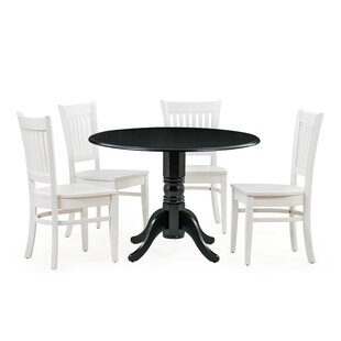 Reider 5 Piece Drop Leaf Solid Wood Dining Set Charlton Home