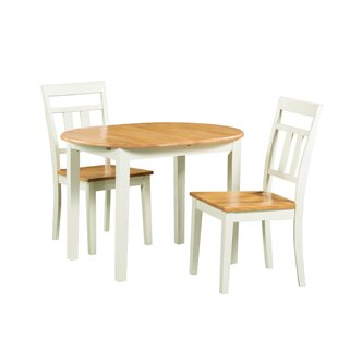 Shippy 3 Piece Extendable Solid Wood Dining Set