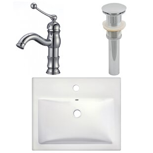 Comparison Ceramic Rectangular Vessel Bathroom Sink with Faucet By American Imaginations
