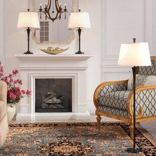 Charlton Home Herrin 3 Piece Table and Floor Lamp Set
