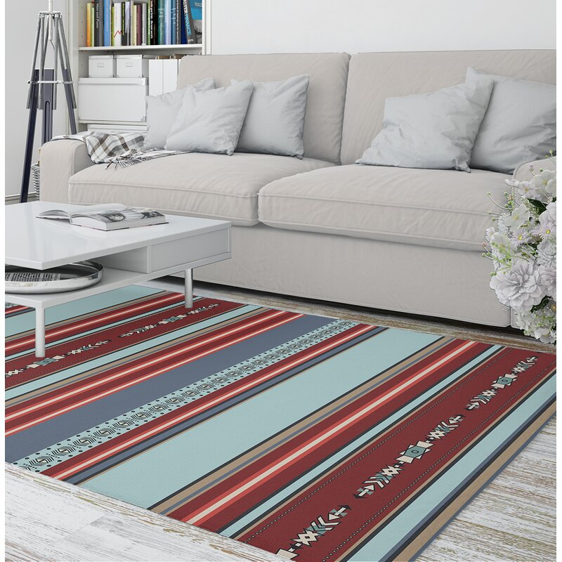 Foundry Select Thanos Power Loom Red Blue Rug Wayfair
