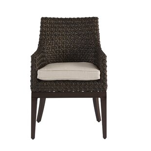 Gracie Oaks Asphodèle Wicker Patio Dining Chair with Cushion