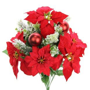 12 Stems Artificial Velvet Poinsettia Floral Arrangement