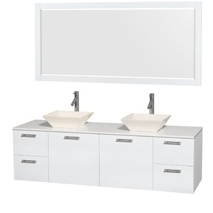 Amare 72 Double White Bathroom Vanity Set with Mirror ByWyndham Collection