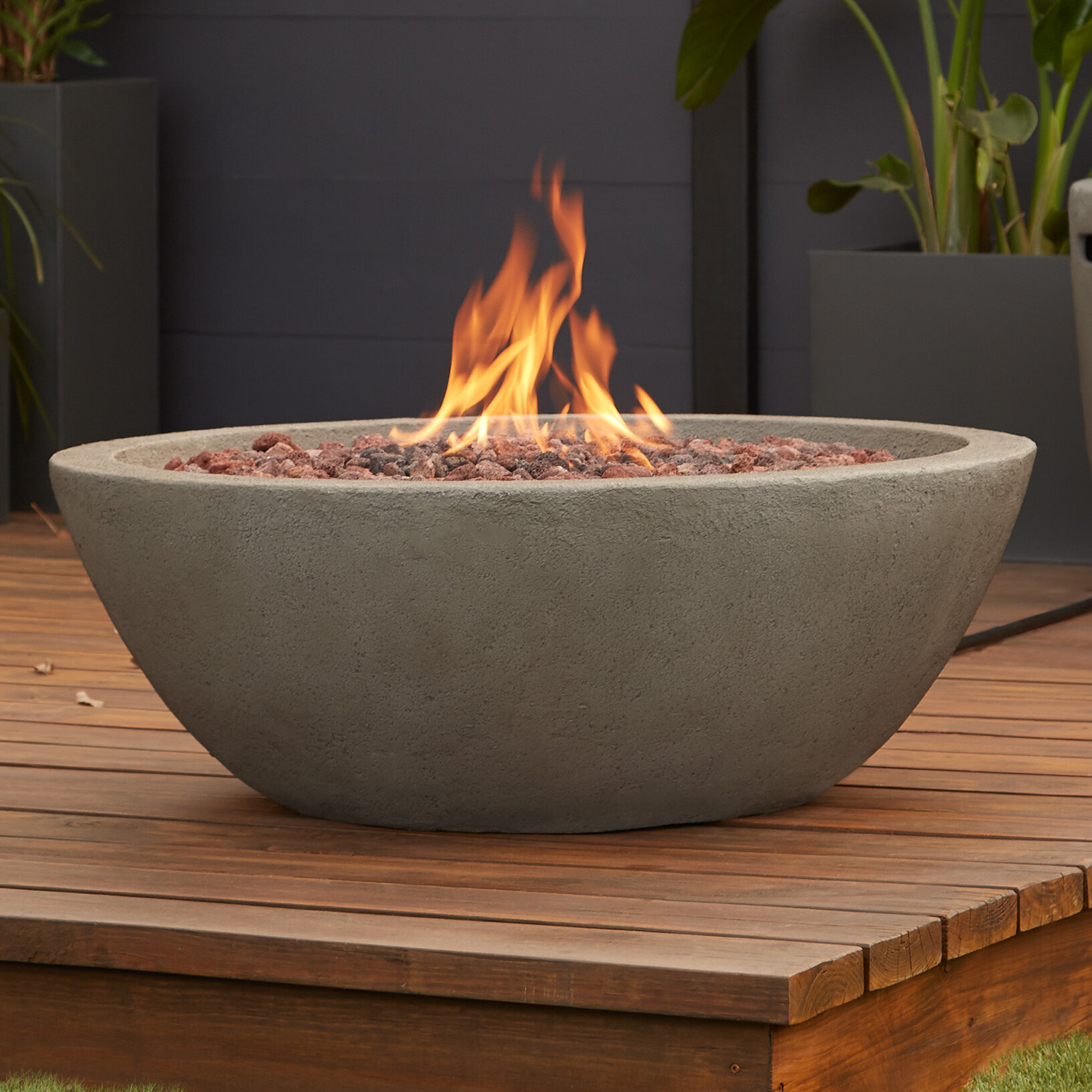 Image of: Real Flame Riverside Concrete Propane Fire Pit Reviews Wayfair