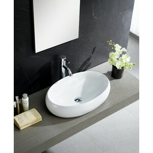 Modern Ceramic Oval Vessel Bathroom Sink