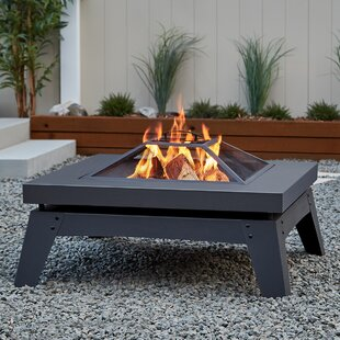 Real Flame Breton Steel Wood Burning Fire Pit Table