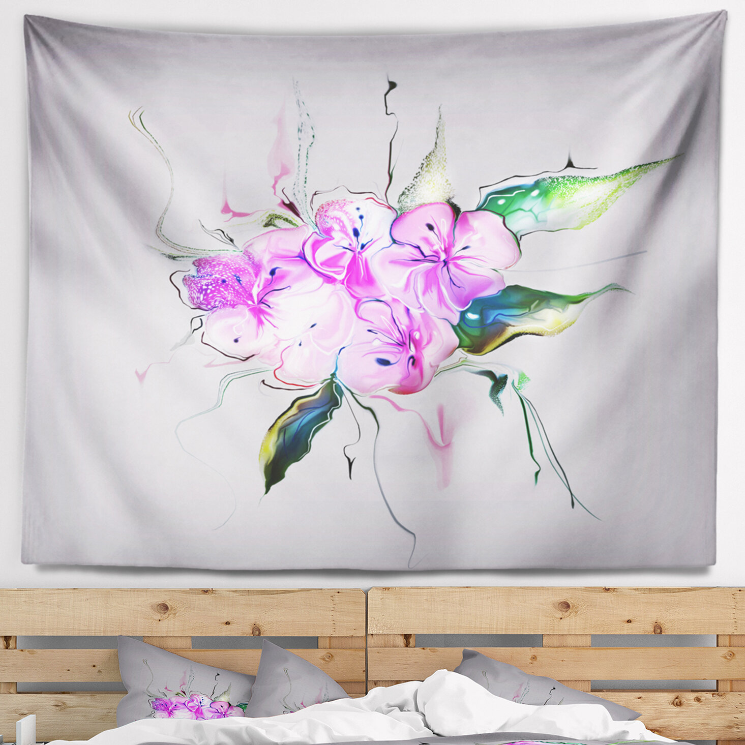 East Urban Home Animal Purple And Pink Pansies Flowers Tapestry And