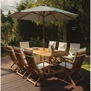 Creel 8 Seater Dining Set With Cushions And Parasol By Sol 72 Outdoor