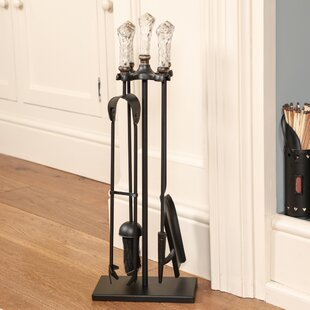 Diamond Cut Glass Handled 5 Piece Iron Fireplace Tool Set By Symple Stuff