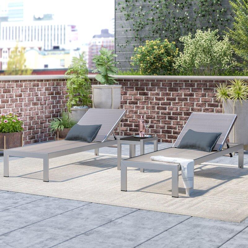 Orren Ellis Coline Outdoor Patio Straps Single Chaise and Table Set