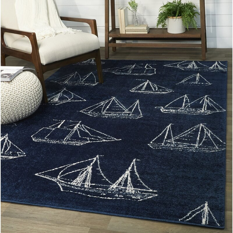 Breakwater Bay Chisholm Sail Boat Blue Area Rug Reviews Wayfair