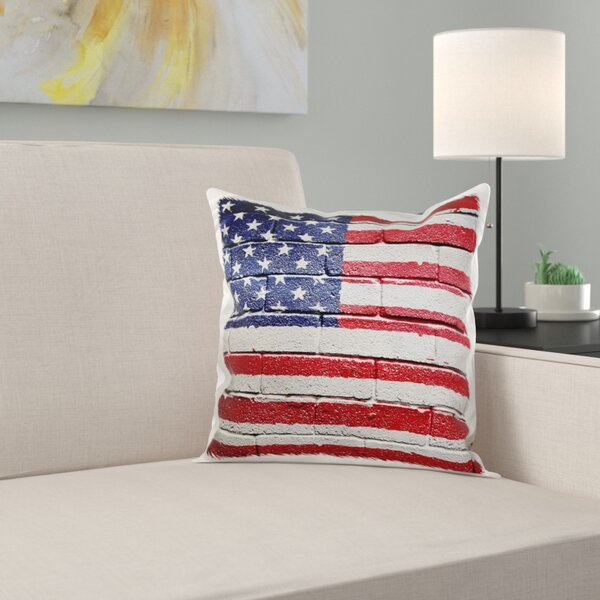 East Urban Home Usa American Flag On Brick Wall National Country Pillow Cover Wayfair
