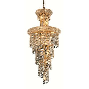 Jessenia Spiral 10-Light Crystal Chandelier By Willa Arlo Interiors