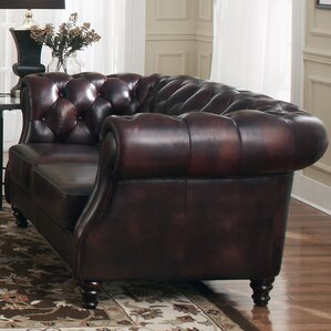 Tilsworth Leather Chesterfield Loveseat by Astoria Grand