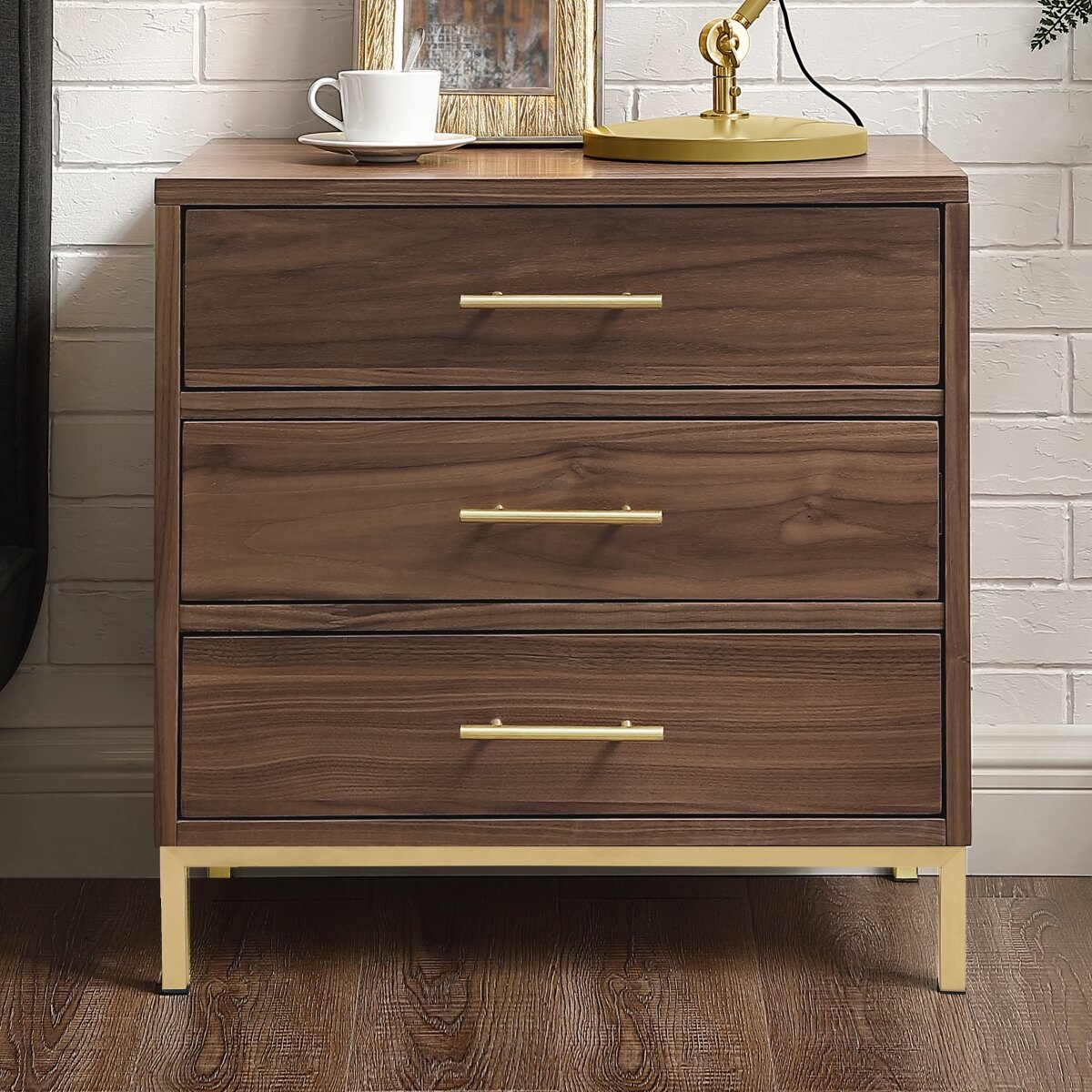 Nightstands Drawer Organizer Store Cabinet With LED Light Meubles