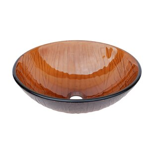 Comparison Wood Vein Glass Circular Vessel Bathroom Sink By Eden Bath