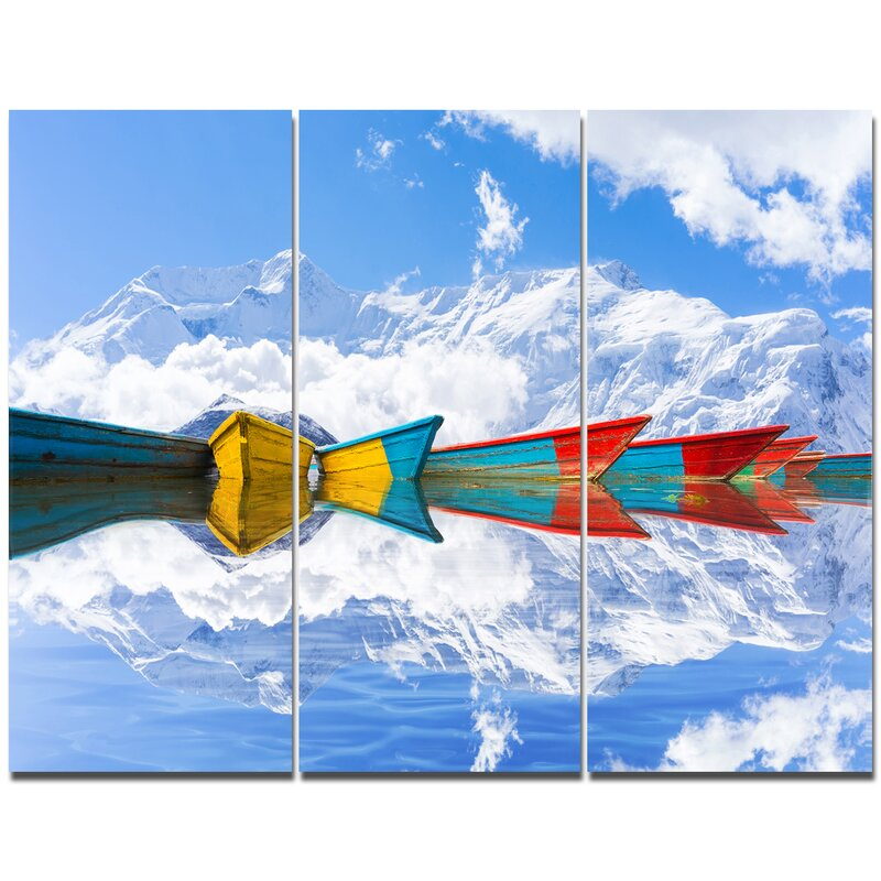 Designart Moving Colorful Boats In Lake Photographic Print Multi Piece Image On Canvas Wayfair